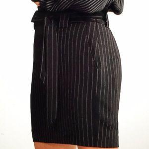 Express Tie Waist Stripe Mini Skirt